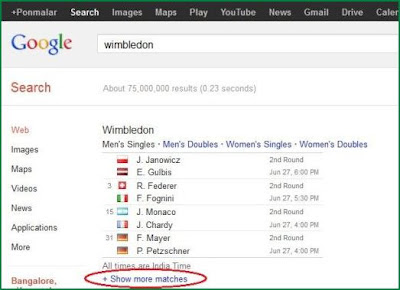 View Wimbledon 2012 schedule on Google Search