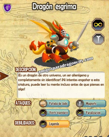 imagen de las caracteristicas del dragon esgrima