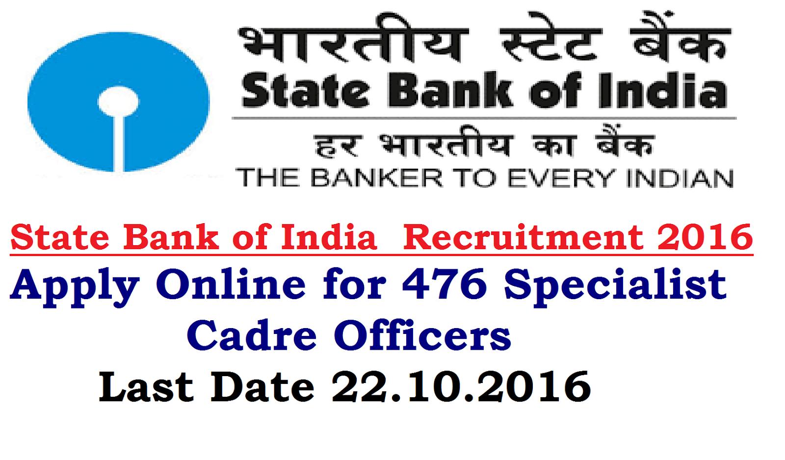 SBI State Bank of India Recruitment 2016 ~ TS Vidya Volunteers ...