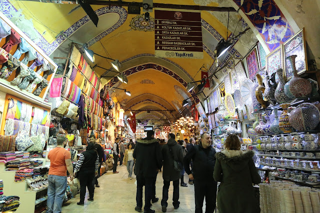Vases, handicraft goods and scarfs can be found at Grand Bazaar in Sultanahmet area in Istanbul, Turkey