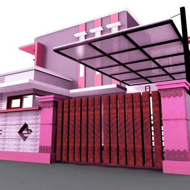 Kombinasi Warna Cat Pagar Minimalis Pink Ungu