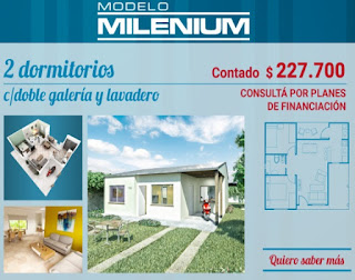 Viviendas Anahi precios 2018 2 dormitorios modelo milenium doble galeria lavadero