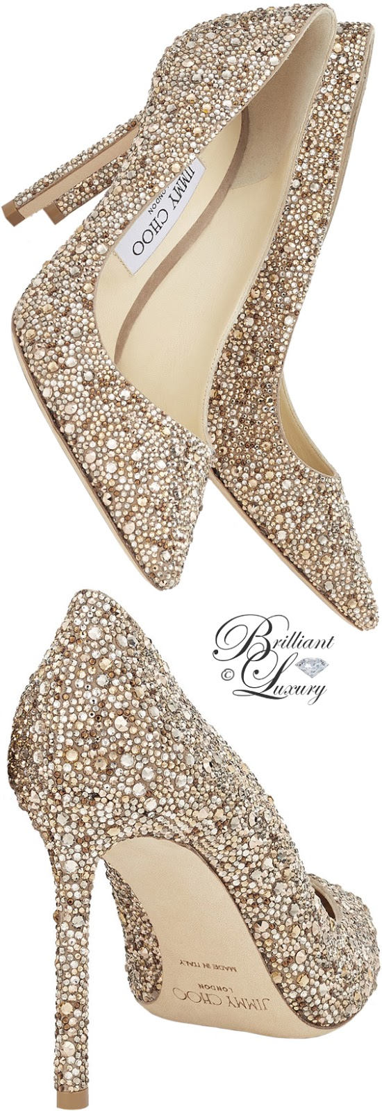 Brilliant Luxury ♦ Jimmy Choo Romy nude suede pointy-toe pumps with crystal hotfix