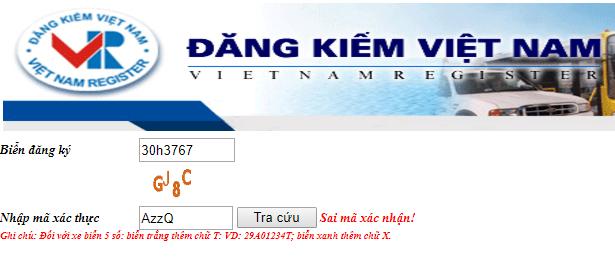 Nhập biển số đăng ký và mã xác thực