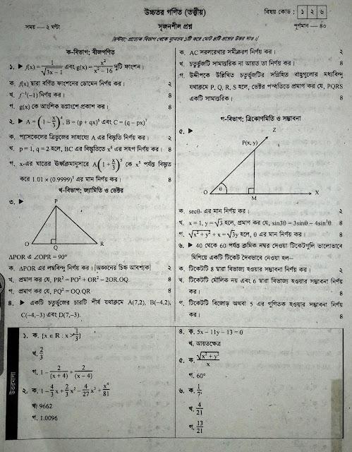 SSC Higher Math Model Question - 04
