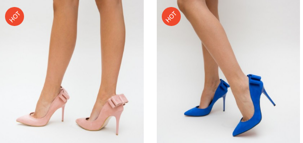 Pantofi eleganti cu toc din piele eco intoarsa roz, albastri