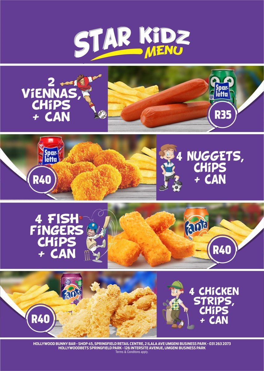Star Kidz Menu - Kiddies Food - Children