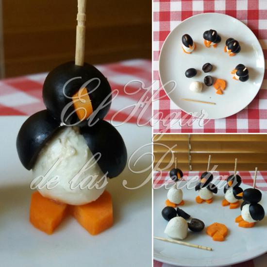 Cada pingüino está hecho con una bolita de morzzarella, dos aceitunas negras y una rodaja de zanahoria
