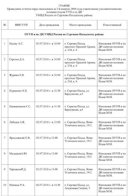 2 июля – отчёты участковых перед населением Сергиев Посад