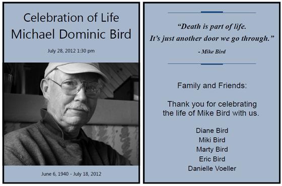 funeral handouts template - kingfisher celebration handouts