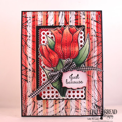 Our Daily Bread Designs Stamp Set: Tulips, Custom Dies: Circle Scalloped Rectangles, Pierced Rectangles, Double Stitched Rectangles, Rectangles, Tulip, Mini Labels