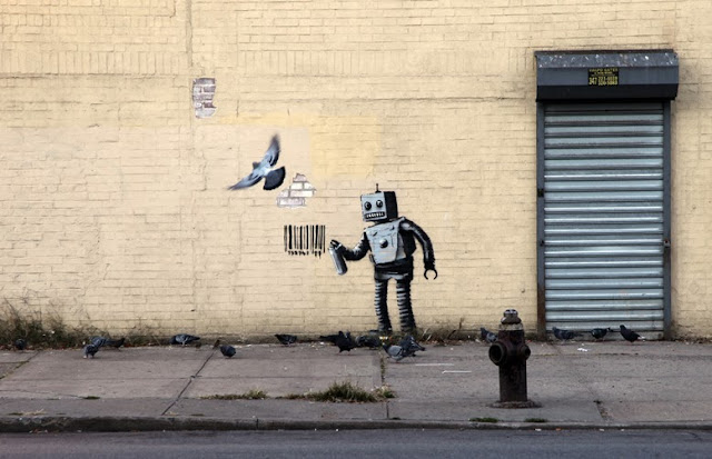 """Tagging Robot"" New Street Art Piece By Banksy For Better Out Than In, New York City, Coney Island. 2"