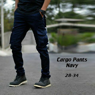 celana carg, celana cargo biru, celana cargo pria, celana cargo biru navy