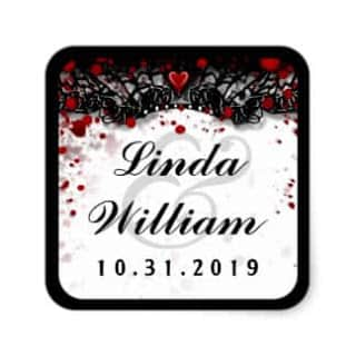 Blood Splatter Love Halloween Wedding Square Label