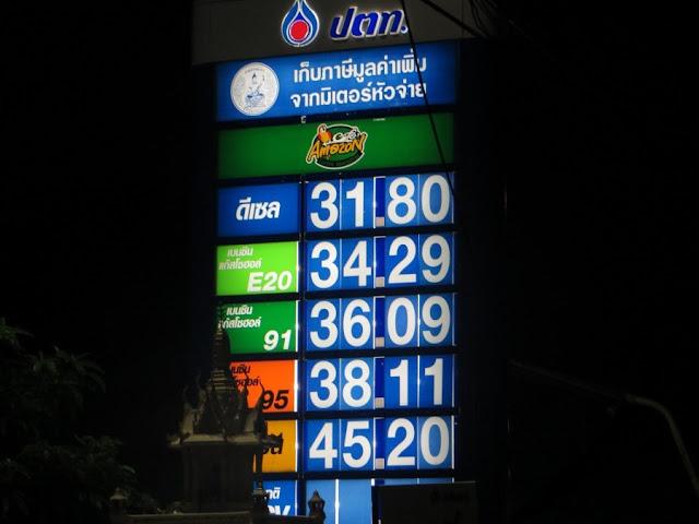 Цены и разновидность бензина Таиланд