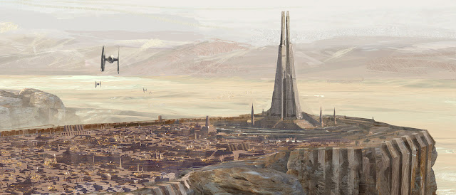 Concept art of Jedha and the Kyber temple from Rogue One