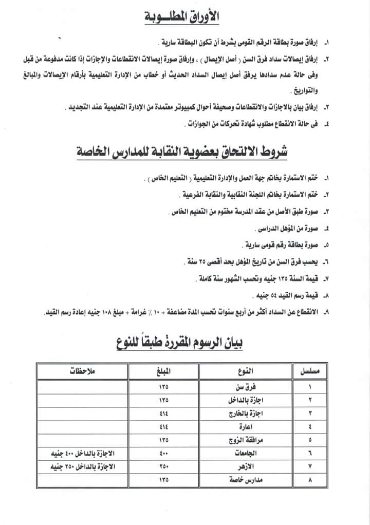 عاجل _ ننشر استمارة عضوية نقابة المعلمين الجديدة والاوراق المطلوبة والرسوم المقررة للكارنيه