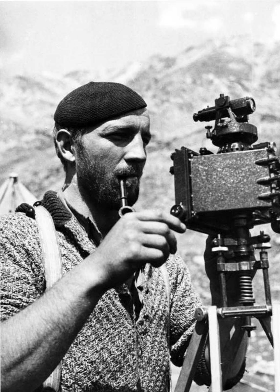 Karl Wienert taking photogrammetric measurements.