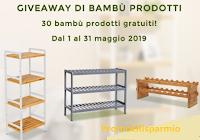 Logo Songmics Italia: vinci gratis 30 prodotti di Bambù ( scaffali e scarpiere)