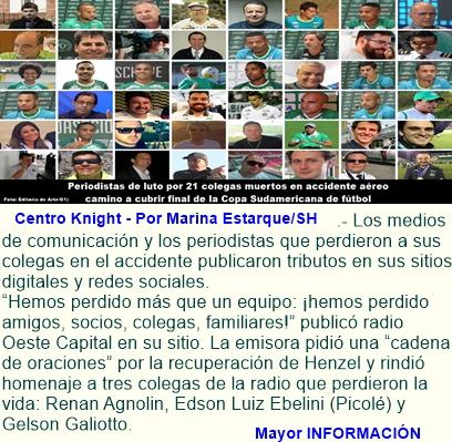Periodistas de luto por 21 colegas muertos