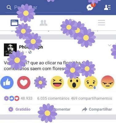 """Facebook Lança""""Chuva De Flores"""" retorno do Botão de gratidão Em Comemoração Ao Dia Das Mães"""