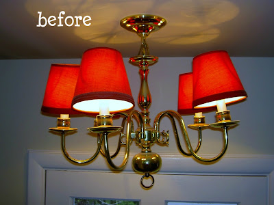 brass chandelier before