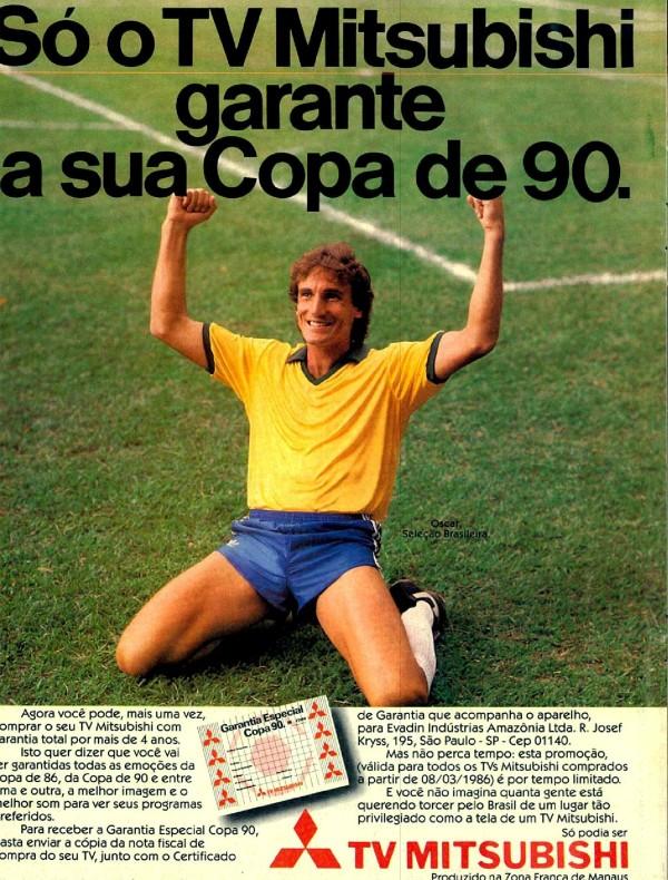 Propaganda antiga da TV Mitsubishi com o jogador Oscar para Copa do Mundo de 1986