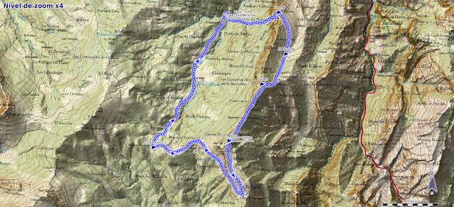 Mapa de la ruta de Víboli a Peña Subes y Sen de los Mulos