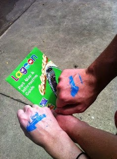 Getting our hands stamped at Lagoon theme park.