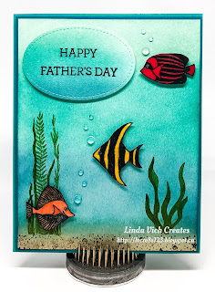 Linda Vich Creates: Seaside Shore Father's Day. Both Seaside Shore and Magical Mermaid have been used to create this tropical scene on a Father's Day card.