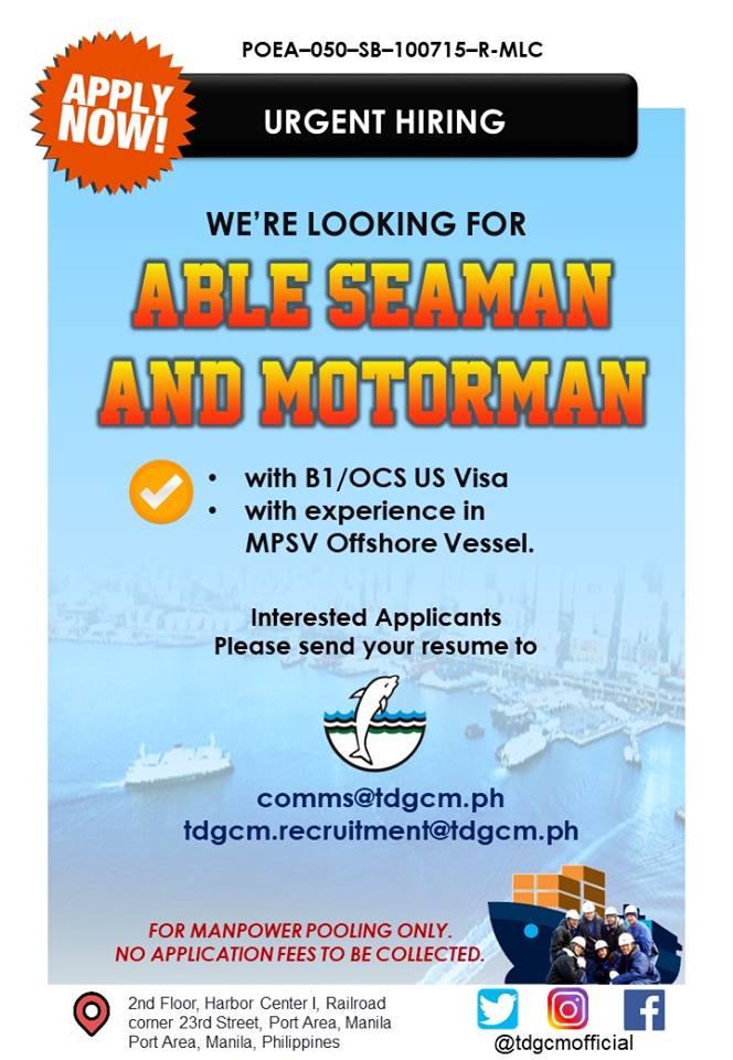 Seaman Jobs For Freshers