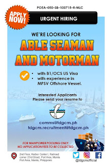 SEAMAN JOB INFO -  We have more career openings for our very hard working and passionate Filipinos out there. Start your career today and apply to us, your initiative and persistence will go a long way.