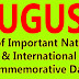 AUGUST - List of Important National and International Commemorative Days (August Month)