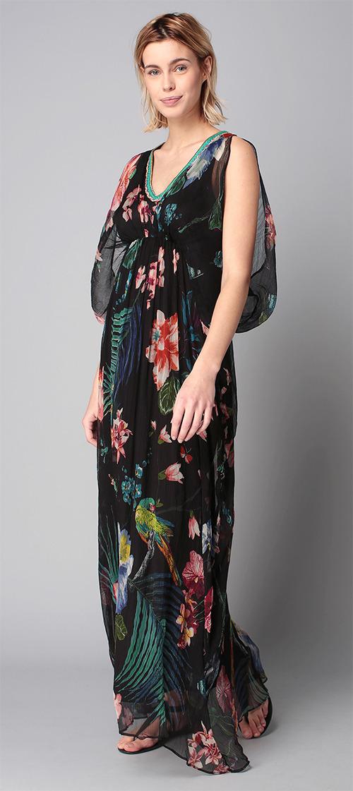 Robe longue d'été noire à fleurs René Derhy