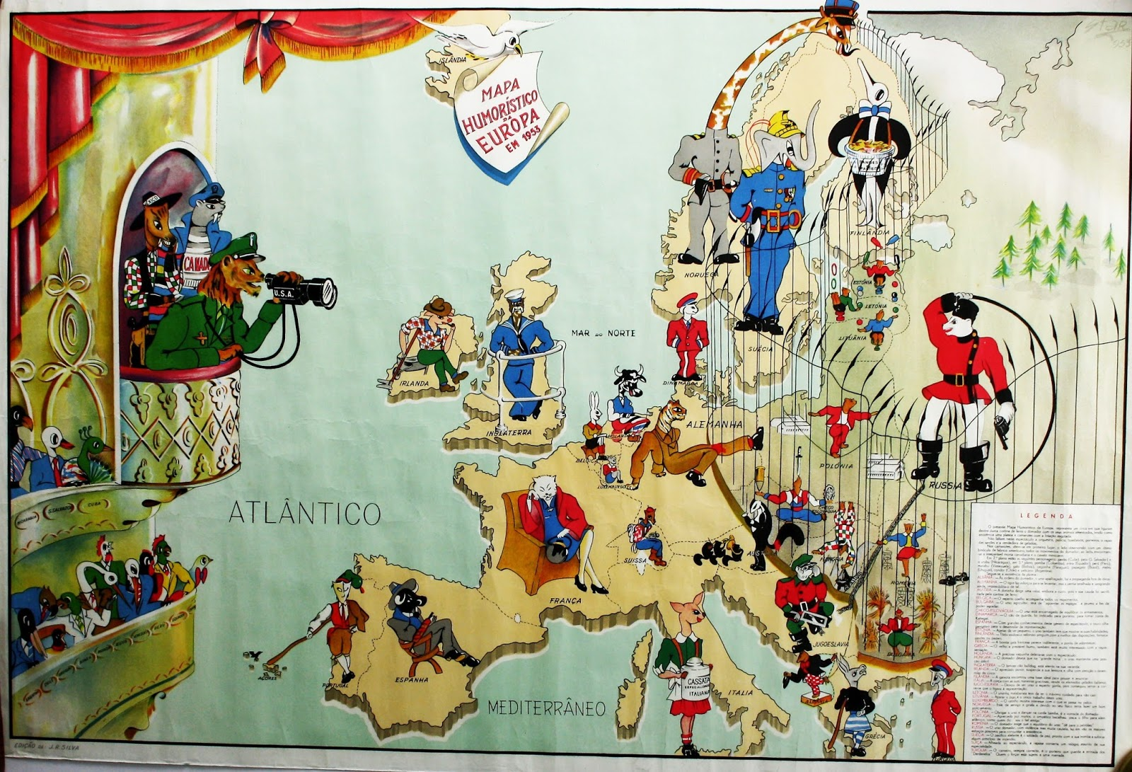 Humoristic Cold War map of Europe (1953) (Portuguese)