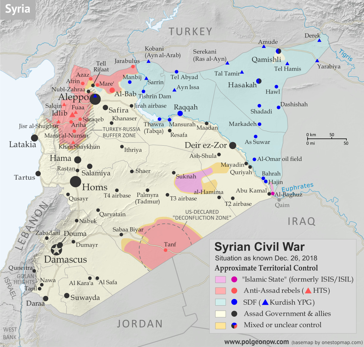Map of Syrian Civil War (Syria control map): Territorial control in Syria in December 2018, just before the US troop withdrawal (Free Syrian Army rebels, Kurdish YPG, Syrian Democratic Forces (SDF), Hayat Tahrir al-Sham (HTS / Al-Nusra Front), Islamic State (ISIS/ISIL), and others). Includes US deconfliction zone and Turkey-Russia demilitarized buffer zone, plus recent locations of conflict and territorial control changes, such as Hajin, Al Safa, Baghuz, and more. Colorblind accessible.