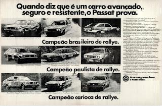 propaganda Rallye - VW Passat - 1976; propaganda Volkswagen - 1976; vw anos 70; carros Volkswagen década de 70; anos 70; carro antigo Volks; década de 70; Oswaldo Hernandez; Passat 76; Campeonato Rallye década de 70