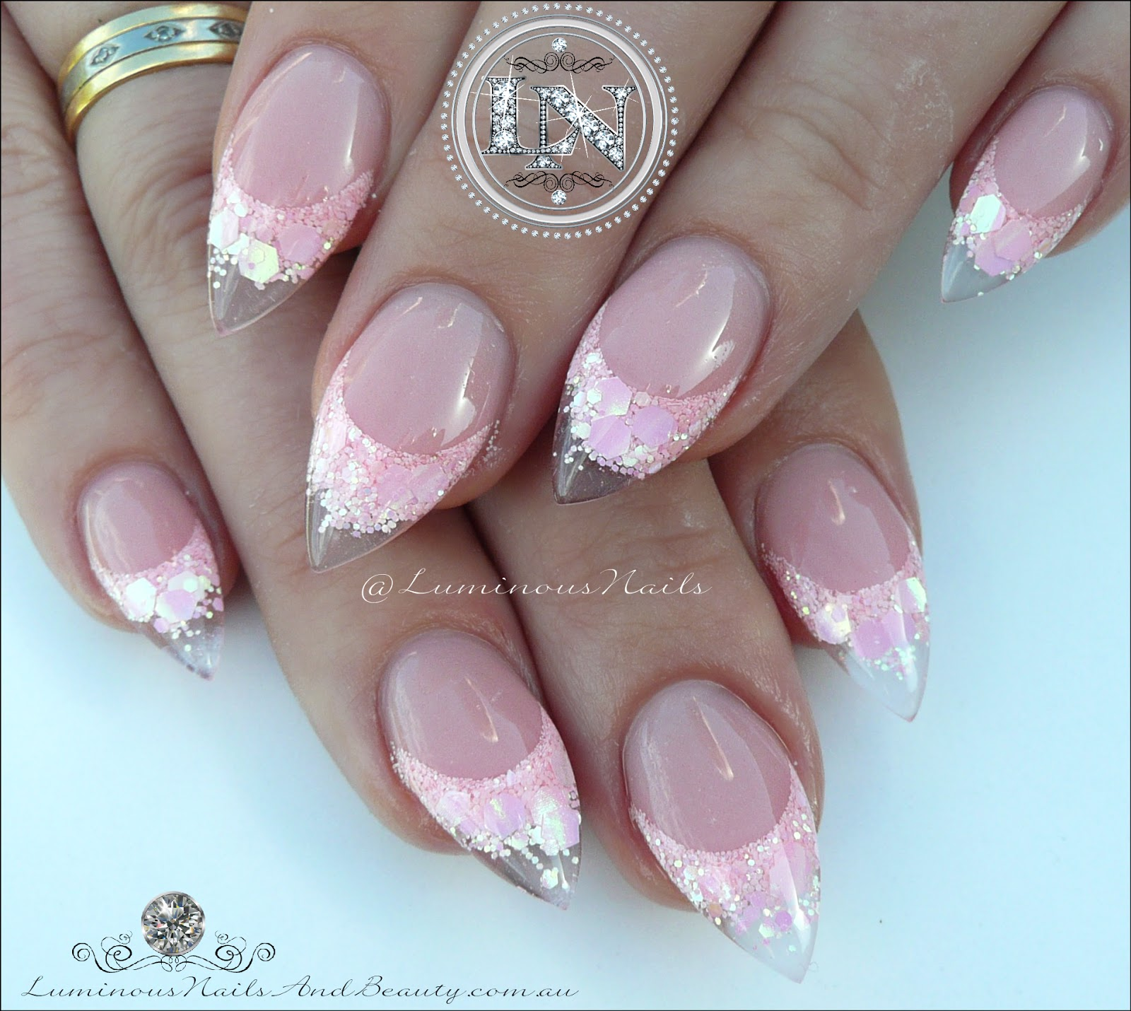 Luminous nails baby pink glittery sculptured acrylic nails prinsesfo Image collections