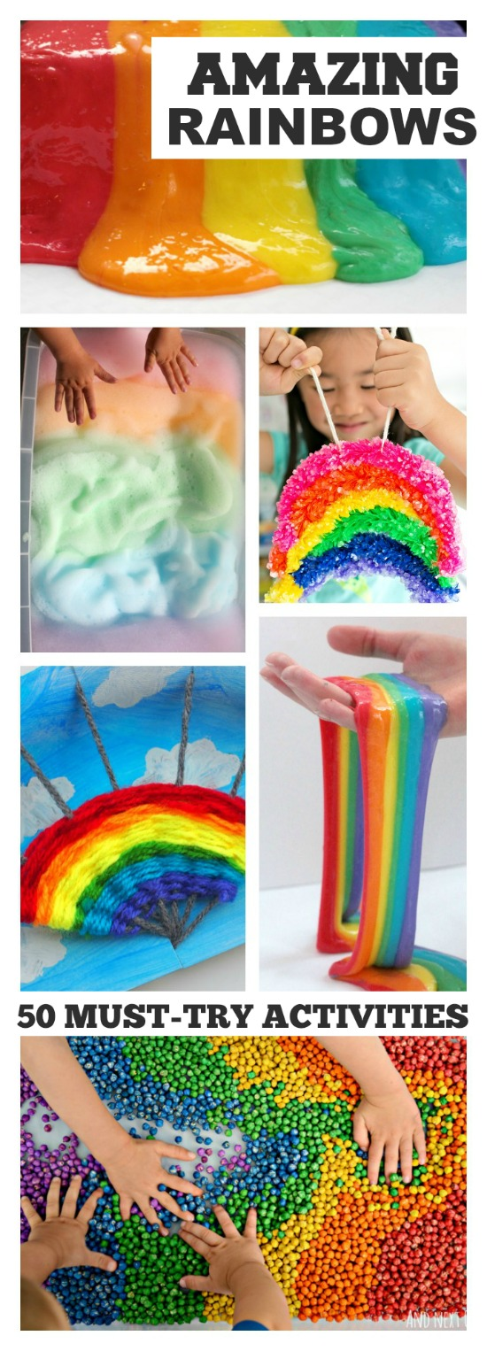 50+ RAINBOW PROJECTS FOR KIDS:  I can't wait to try some of these!  Awesome ideas!  #rainbowcrafts #kidsactivities #kidscrafts
