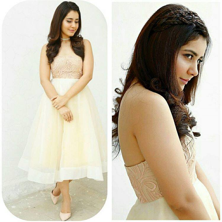 Bubbly Baby Rashi Khanna Long Hair In White Dress