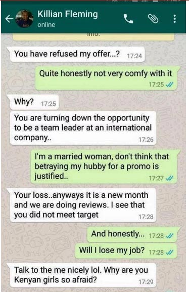Leaked Whatsapp chat: Boss threatens to sack female employee for refusing sexual advancement