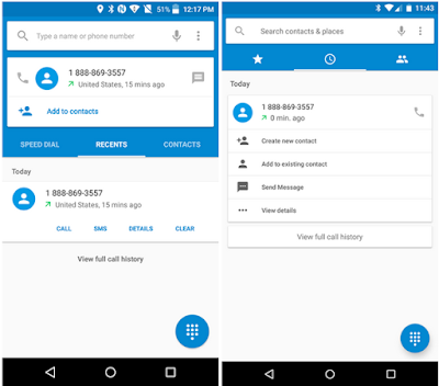 Android M Dialer app and Default Apps UI First View
