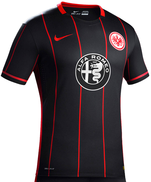 762b00553e1 A modern crew-neck collar is used for the new Eintracht Frankfurt 15-16 Kit