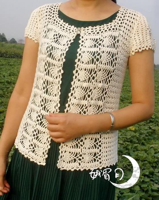 free crochet pattern of sweater, Pineapple crochet - front