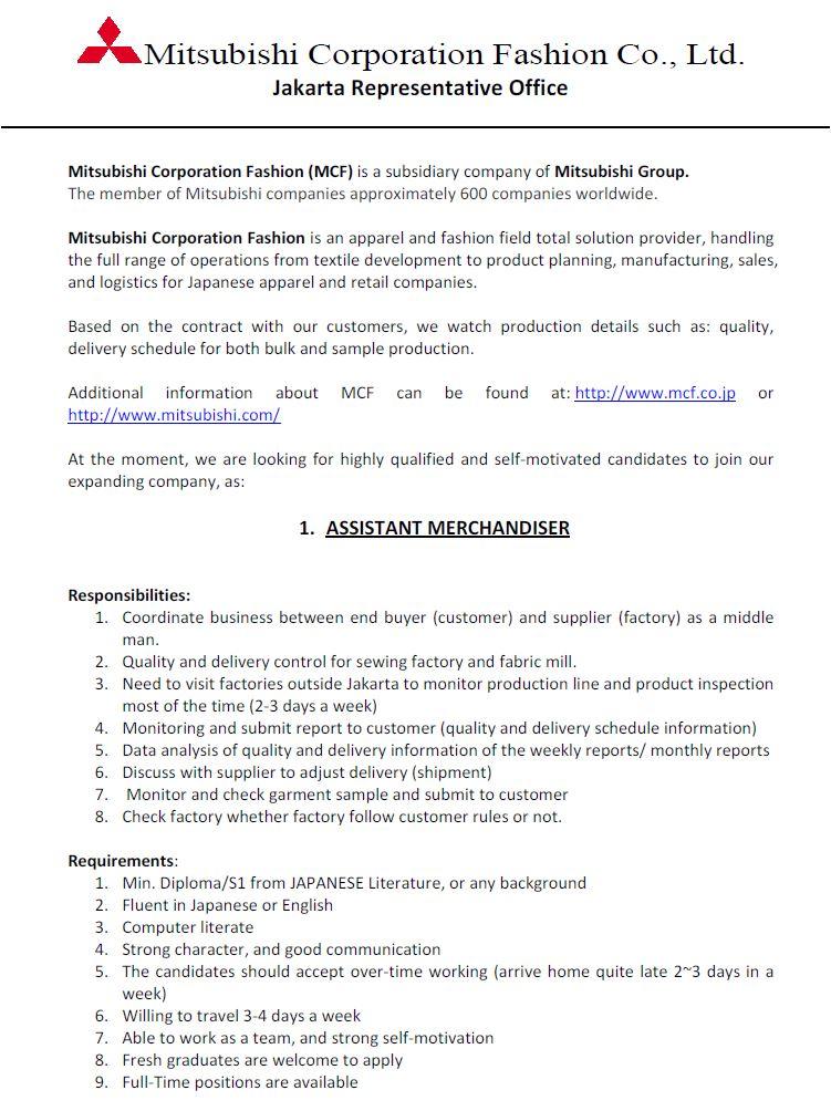 Lowongan Kerja Mitsubishi Coporation Fashion Co. Ltd Februari 2017