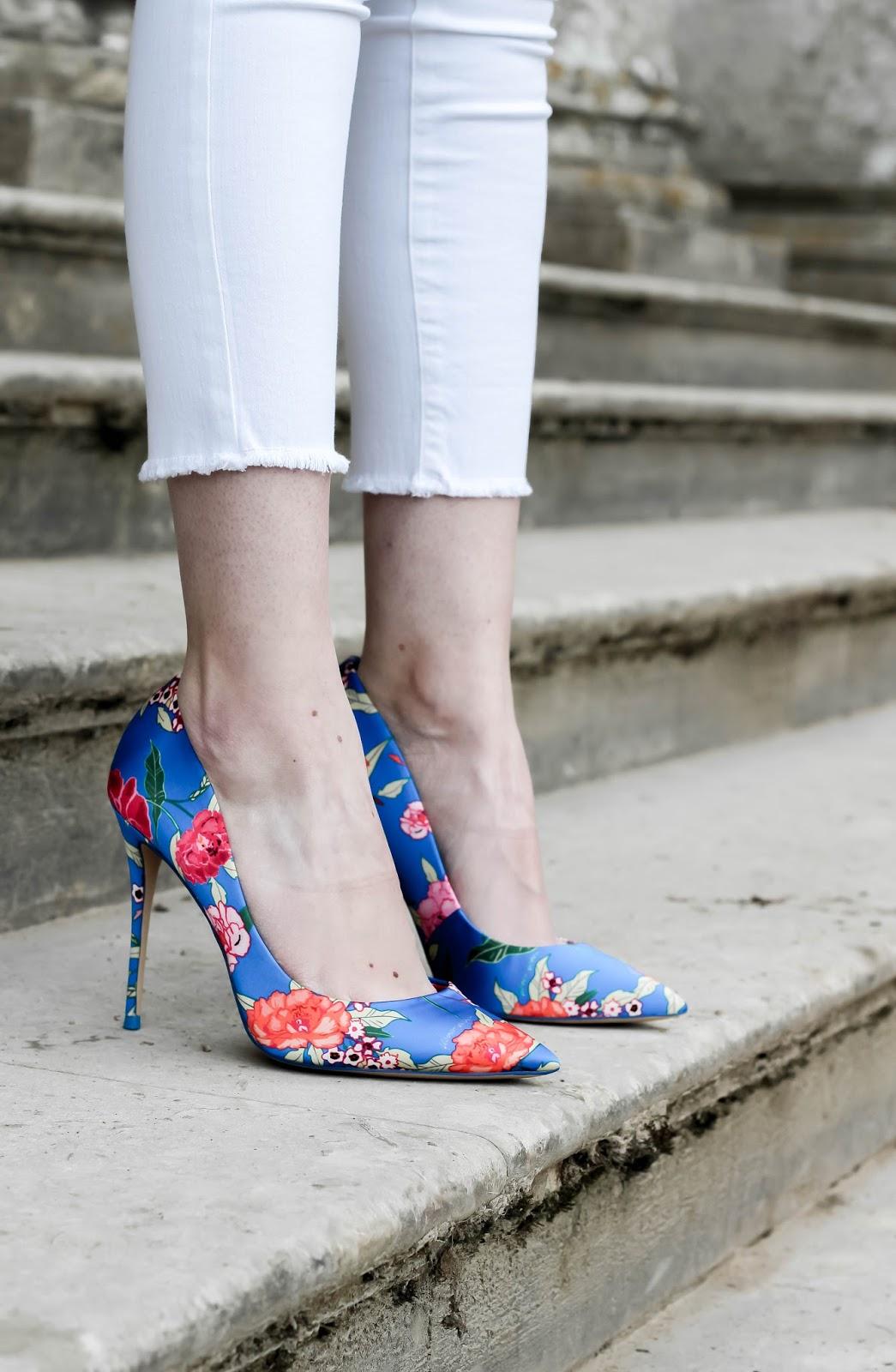 Aldo Stessyf Blue Floral Pump Heels