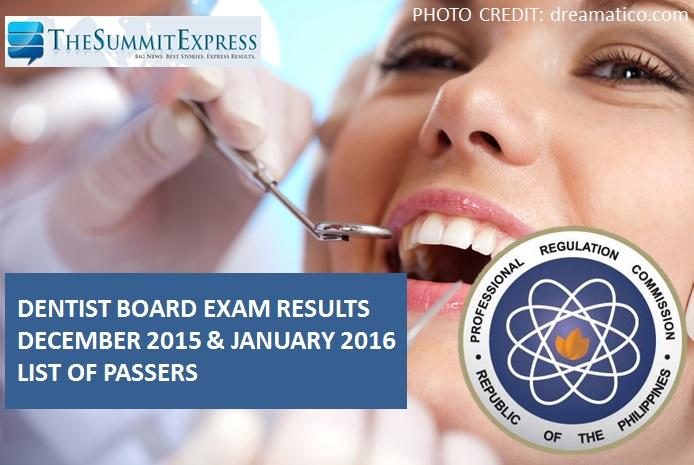 December 2015 & January 2016 Dentist board exam results