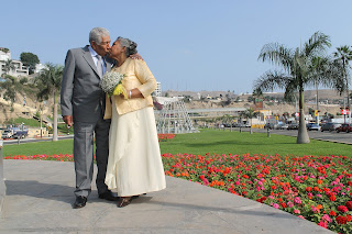 romantic older couple celebration