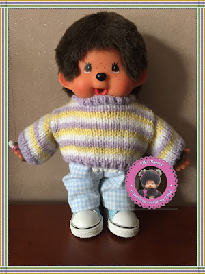Pull rayé pastel fait main pour Kiki ou Monchhichi, handmade, fait main, tricot