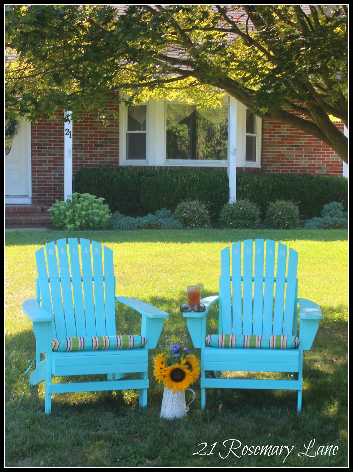 aqua adirondack chairs breakfast tables and 21 rosemary lane my freshly painted